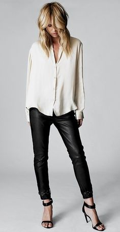 So adore this. Leather leggings and cream soft blouse