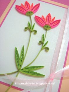Lin Handmade Greetings Card: Bright and sweet coloured flowers