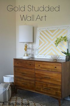 Awesome gold studded wall decor you can make yourself! Check out this step by step tutorial!