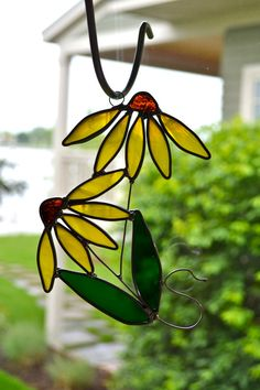 Yellow Streaky Coneflower Stained Glass  Suncatcher by dortdesigns, $15.00