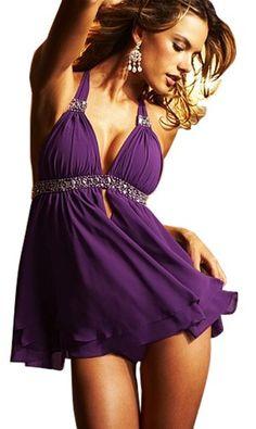 http://fashionstylepics.com/vivilli-sexy-v-neck-babydoll-purple/fashionstyle VIVILLI Sexy V-neck Babydoll-Purple #Lingerie