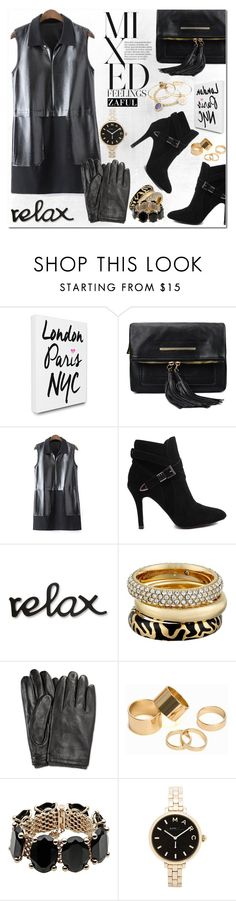 """""""Black Leather"""" by vanjazivadinovic ❤ liked on Polyvore featuring LulusimonSTUDIO, Michael Kors, Pieces, Valentino, Marc by Marc Jacobs, Alex and Ani, blackleather, polyvoreeditorial and zaful"""