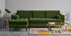 Scott Ecksofa (Récamière links), Samt in Grasgrün ► Für dein Stil-Refugium: entdecke gemütliche Sofas und Sessel in vielen Styles bei MADE.