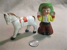 Vintage Standing Cowboy White Horse Salt and Pepper Shakers Ceramic           15