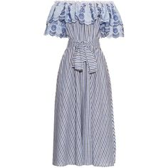 Gül Hürgel Off-the-shoulder ruffle-trimmed striped midi dress (14.972.830 VND) ❤ liked on Polyvore featuring dresses, blue multi, blue dress, ruffle dress, striped midi dress, off the shoulder ruffle dress and flounce dress