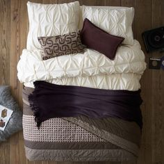 master bedroom textiles?? Layered Bed Looks - Cozy Cottage | west elm - love these colors and the fluffy look