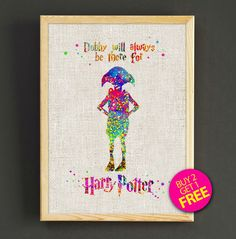 Hey, I found this really awesome Etsy listing at https://www.etsy.com/listing/227794986/harry-potter-dobby-quotes-watercolor-art