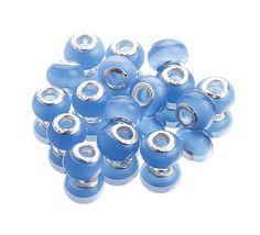 9x14mm Sky-blue Lampwork European Charms Jewelry Cat Eye Beads Fit Bracelets