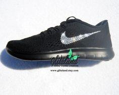 SALE!!  Swarovski Nike Black 2016 Free RN Blinged with SWAROVSKI® Crystals