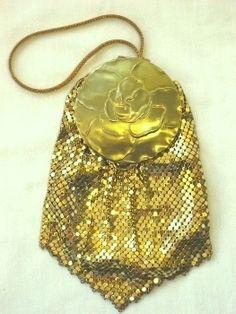 Vintage 1930 Evans compact purse gold mesh
