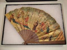 Antique Chinese Fan decorated with People and Gold