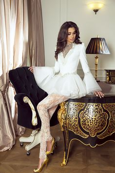 Sylwia Romaniuk Fashion Designer Wedding outfit, interior SR atelier Warsaw, model Sara Faraj