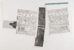 AIRPORT (Sheephead), 1974 Rilievo e intaglio con righello di legno su tela, 103 x 150,5 cm.
