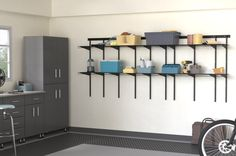 Is it time to straighten out the garage? Get everything off the floor with sturdy, adjustable MaxLoad shelving.   #GarageShelving #GarageStorage #Garage Garage Shelving, Garage Storage, Shelving Solutions, Flooring, Furniture, Home Decor, Decoration Home, Room Decor, Wood Flooring