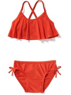 Ruffle-Top Cross-Back Bikini for Baby