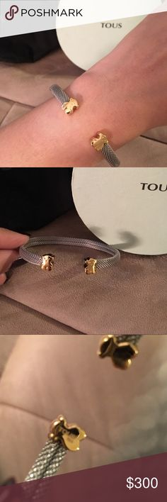 💯 Authentic Tous Bear cuff bracelet in 18K YG Selling this authentic beautiful mesh Tous cuff bracelet in 18k yellow gold. Mesh is stainless steel and the bears are 18k yellow gold. See last pic where it says Tous 750 stamp which means 18k pure gold! One of the bears has faint scratch on it. Overall excellent condition. Comes with box and pouch!🍎 Tous Jewelry Bracelets