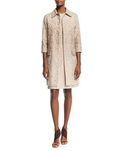 3/4-Sleeve+Textured+Topper+Coat+&+Sleeveless+Textured+Shift+Dress,+Cipria+Beige+by+Agnona+at+Neiman+Marcus.
