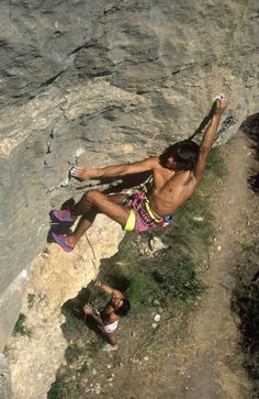 Ernesto Lopez on Ke Pok Saps, 7c. Montanejos (Spain). late 80s, early 90s