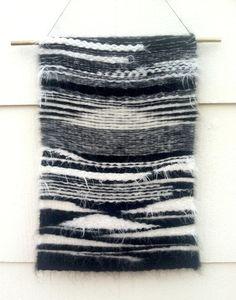 Woven Tapestry by San Francisco based artist Shaine Drake via/ www.shaine-drake.com  #art #woven #handmade #artist #texture #design #pattern #weaving #yarn #natural #accessory #black&white #blackandwhite #decor #tapestry #urban #rustic #boho