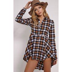 Bobbi Mustard Checked Peplem Shirt ($12) ❤ liked on Polyvore featuring tops, yellow, yellow plaid shirt, mustard yellow shirt, checkered shirt, night out tops and plaid top