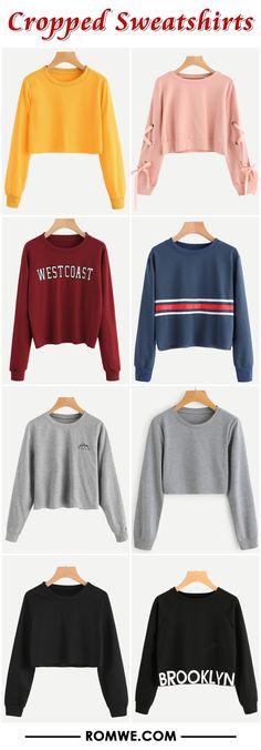 cropped sweatshirts 2017 - romwe.com