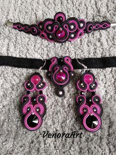 Pink and black soutache set 😉