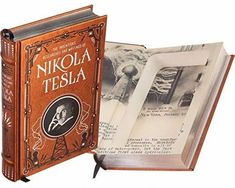 Nikola Tesla Handmade Book Safe - Leather-bound Gag Gifts, Funny Gifts, Hidden Letters, Empty Book, Secret Hiding Places, Book Safe, Leather Bound Books, Ribbon Bookmarks, Nikola Tesla