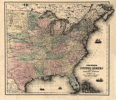 1861 Map United States AMERICA, Colton, Civil War Military, antique decor 16x16