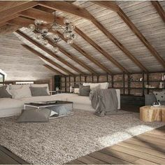Elegant Attic Bedroom Design And Decoration Ideas - Think about using a decorating theme that you will like, but also one which can help to make your room appear larger. Attic Bedroom Designs, Attic Bedroom Small, Attic Bedrooms, Attic Design, Attic Spaces, Bedroom Ideas, Master Bedroom, Log Cabin Bedrooms, Ikea Bedroom