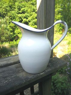 Vintage Rustic Farm House Enamel Pitcher by BetterOldThings, $25.00