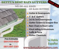 Betty's Best Rain Gutters, is a local gutter company based in Salt lake City Utah. We specialised in Rain Gutters - from consulting, installing and repairing of rain gutters for all types of gutters. We also of a wide arrangement of gutter accessories to improve the function of your rain gutter system. Beside gutters the other service we offer is fascia & soffit install and repair.