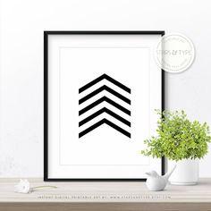 Modern Minimalist Printable Wall Art Design, Black Chevron Pattern, 50% Off Sale, Digital Print, Scandinavian Style, Monochrome Arrows Decor by StarsAndType on Etsy