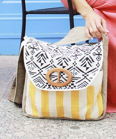 Look at this Sage & Harper Yellow Stripe & Geometric Diaper Bag on #zulily today!