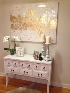 Gold Leaf painting with distressed wood furniture