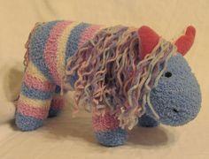 Pastel Stripe Fuzzy Chenille Sock Horse.  via Etsy.