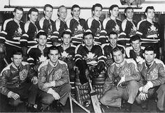 Group photograph of the Lethbridge Maple Leafs Hockey Club who were the world amateur champions and Churchill cup winners (1951-52).