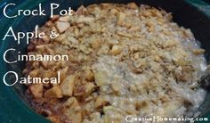 Crockpot oatmeal....tried this exactly as directed.  Very good.  I cooked on low for 10 hrs overnight.  Had to add sugar to kids,but they loved it.  Next time:  spray crock pot with cooking spray or use liners before adding ingredients.  -kara