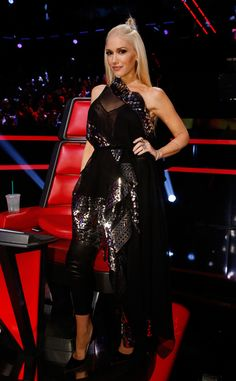 Rockstar from Gwen Stefani's The Voice Looks  In a diamond mirrored trimmed ensemble.