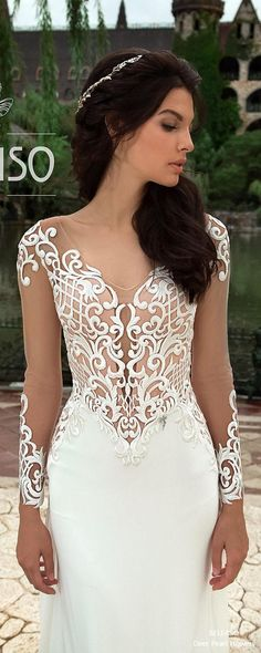 Long Sleeve Lace Elegant Bridal Gown Mermaid Sheath Beach Wedding Dress ALTERA 3