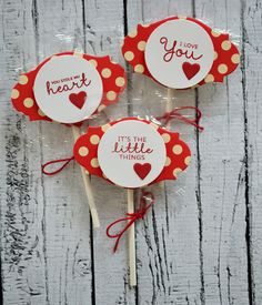 Fun Lollipops for Valentine's Day. Made cute with clear stamps and steel dies from TechniqueTuesday.com. Click on the photo to go to the post with the DIY how-to.