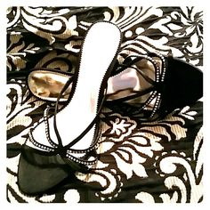 Beautiful black sandals Almost new black heeled sandals with rhinestones. Sz 10, worn once, in great condition. The Touch of Nina Shoes Sandals