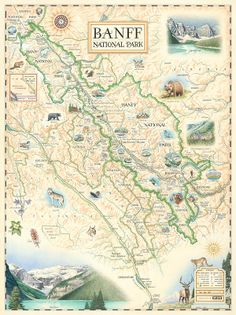 Antique Style Map of Banff National Park