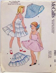 Vintage McCalls Pattern 1931 Crinoline Slips and Petticoat 50's Size 6, Breast 24, Waist 22 by Sassy By Design, via Flickr