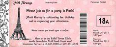 Paris Passport Birthday Invitation for a Travel Theme Birthday party.