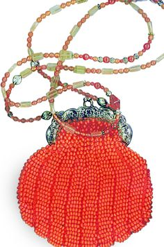 Knitted Bead Purse Orange with Gold Frame #beadedpurses #vintagepurse #handmadebag