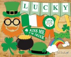 Instant Download St Patrick's Day Photo Booth Props Printable Pack 15 items