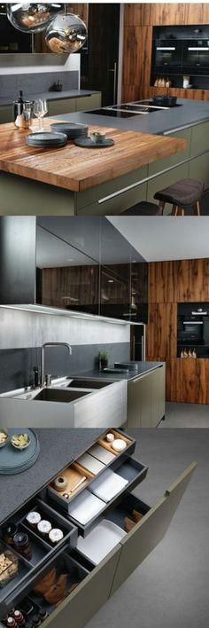Küche, Küchenfarbe, Grün, Olivgrün, Dunkelgrün, Insel, Holz, Holzküche,
