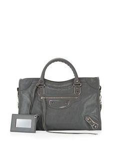Balenciaga Classic Metallic Edge City Bag, Gris Cendre In Gray Balenciaga Handbags, Balenciaga City Bag, Leather Handbags, Edge City, Small Leather Bag, Grey Purses, Cool Gifts For Women, Metallic Leather