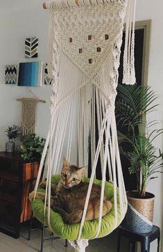 Diy Cat Hammock, Macrame Owl, Cat Room, Pet Furniture, Macrame Tutorial, Macrame Projects, Diy Interior, Macrame Patterns, Vintage Cat
