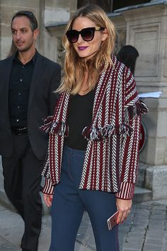 Olivia Palermo arrives at the Sonia Rykiel show as part of the Paris Fashion Week Womenswear Spring/Summer 2017 on October 3 2016 in Paris France
